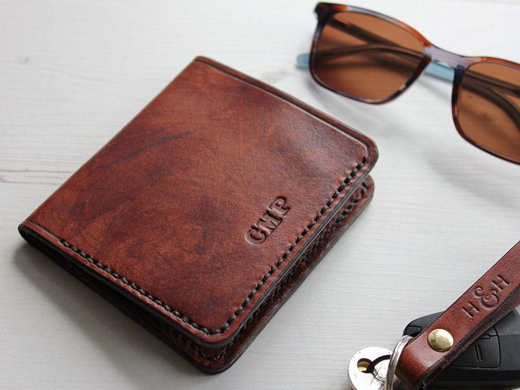 Handmade Slim Leather Bi-Fold Wallet by HideAndHome on Etsy