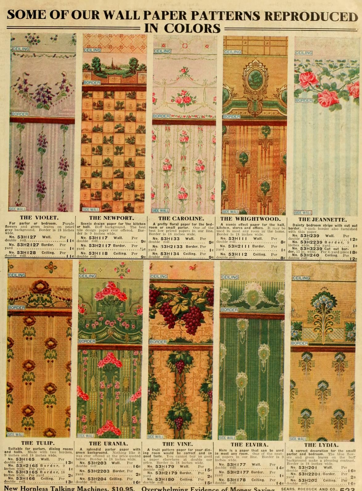 Wall Paper Patterns 1913 Sears Roebuck Catalog no. 124. | Lead Up to ...