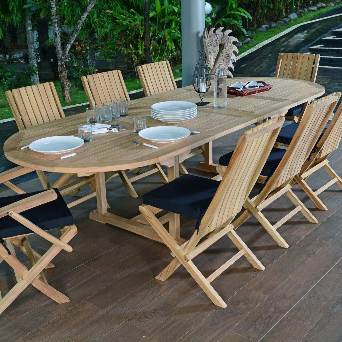 Salon De Jardin Teck Ecograde Malte 6 Chaises Et 2 Fauteuils Taille Taille Unique Agrement De Jardin Mobilier Jardin Et Fauteuil Pliant