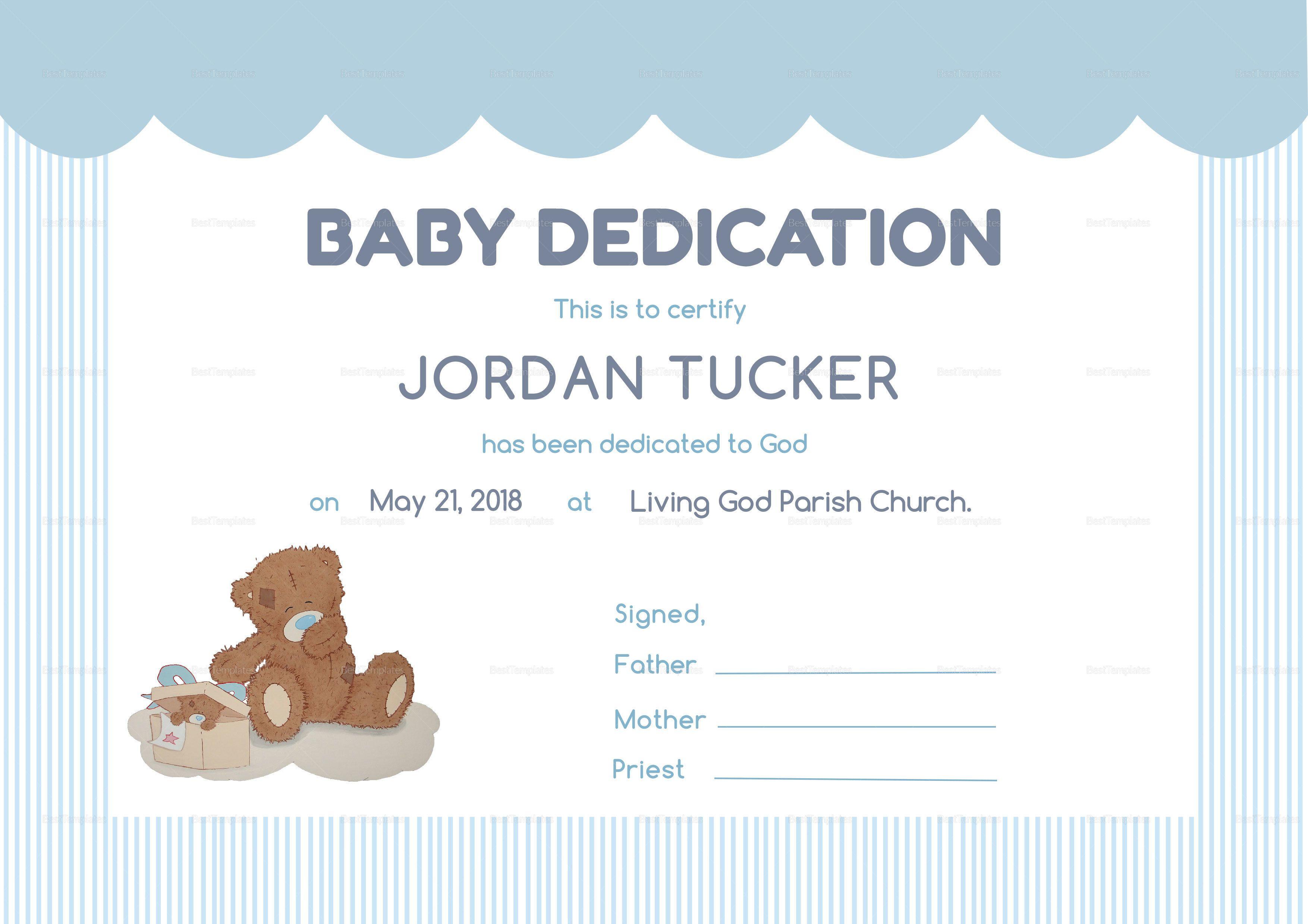 Baby Dedication Certificate Template Birth Certificate Template Certificate Templates Baby Dedication Certificate Baby dedication certificate template printable