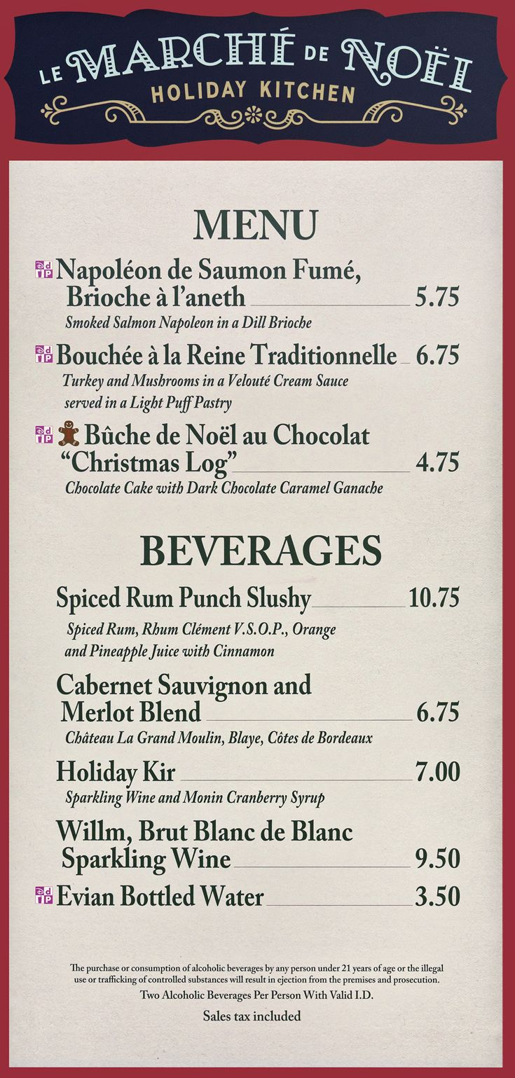 The 2018 menu board for the France Holiday Kitchen at