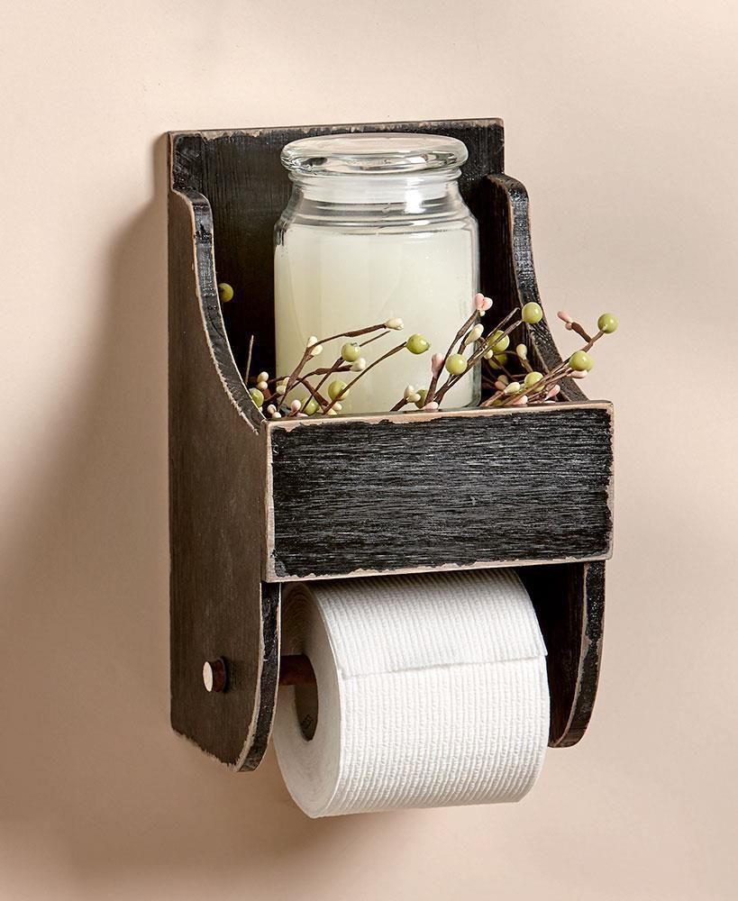 Details about Rustic Toilet Paper Holder with Shelf Country Farmhouse Bathroom Decor BLACK #rustichomedecor