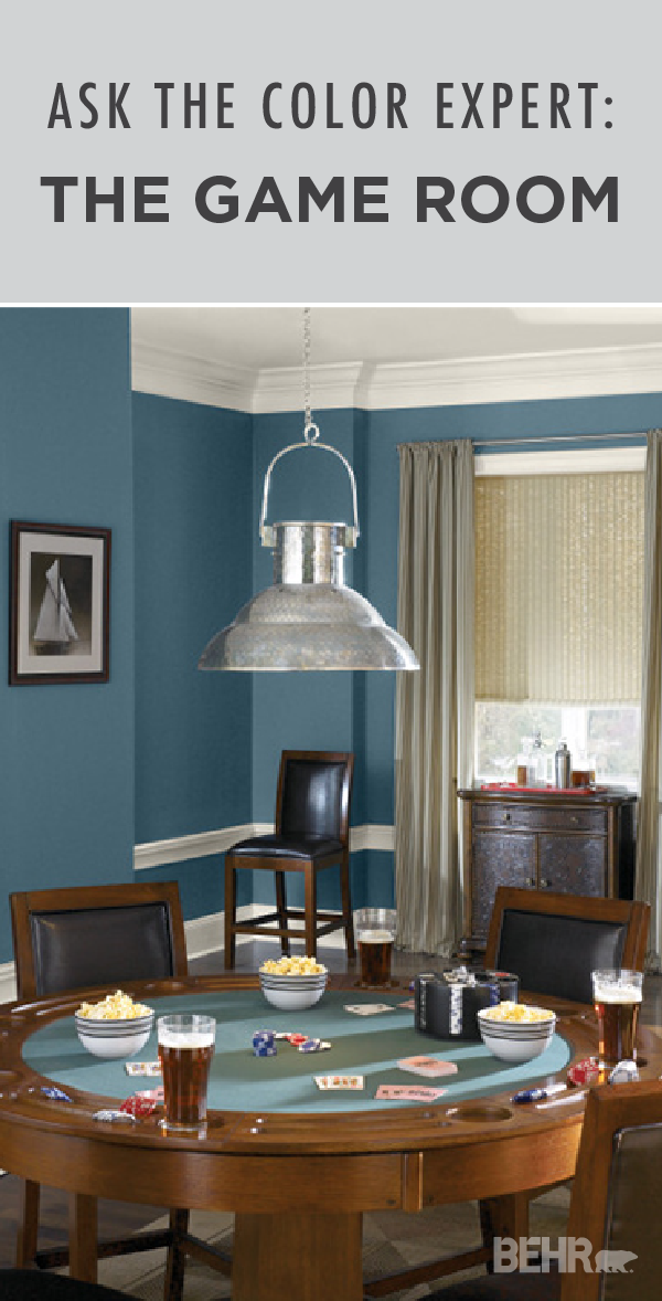 Pick The Perfect Paint Color For Your Game Room Colorfully Behr Dining Room Blue Game Room Blue Rooms