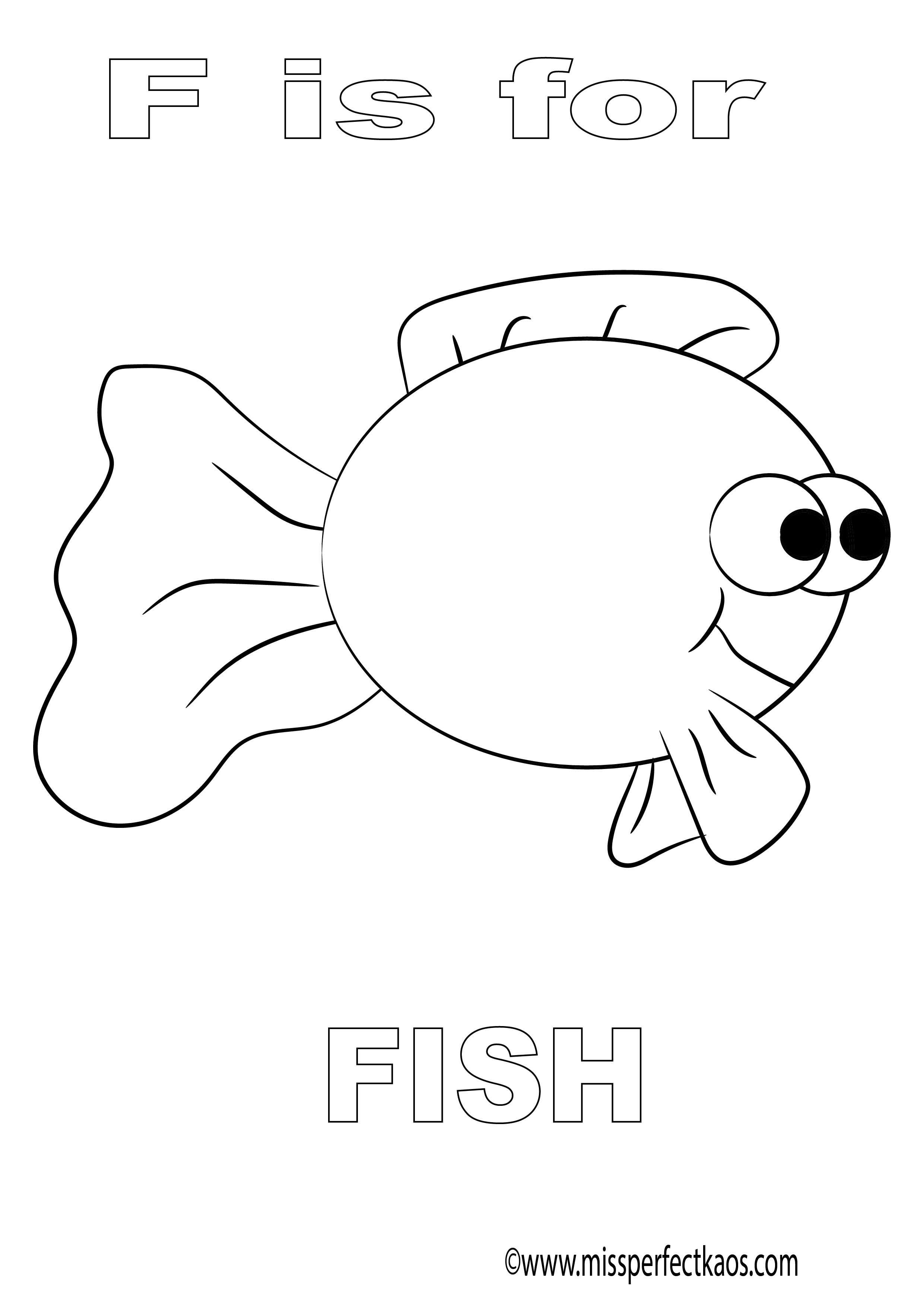 F Is For Fish Coloring Page For Kids Learn The Alphabet