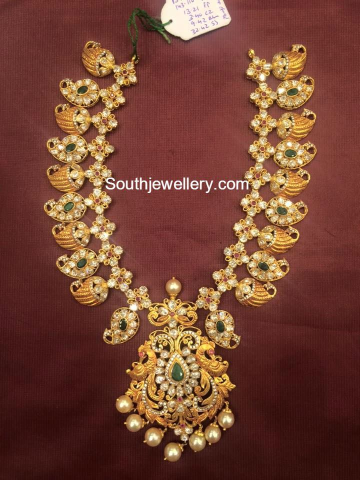 100 Grams Pacchi Mango Haram Gold Necklace Indian Bridal Jewelry Bridal Jewelry Collection Gold Jewellery Design Necklaces