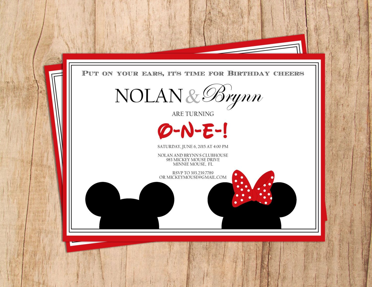 Twin. Multiple Birthday . Mickey Mouse . Minnie Mouse .  Modern Birthday Invitation . Digital File . PDF or JPEG File . Print yourself. by MoonshyneDesigns on Etsy https://www.etsy.com/listing/227061899/twin-multiple-birthday-mickey-mouse
