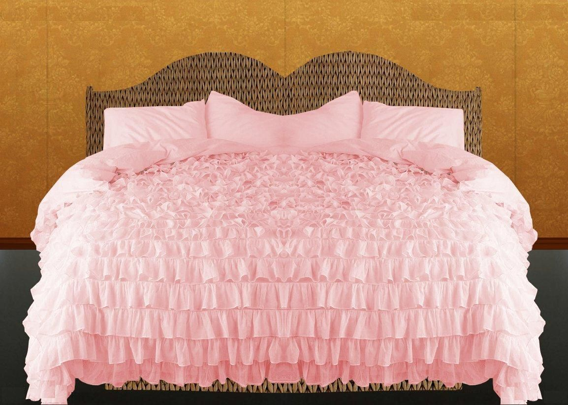 Pink 100/%Egyptian Cotton Bedding Waterfall Ruffle Duvet Cover Set All Size