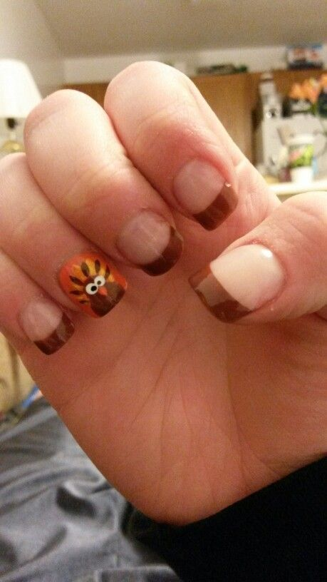 Thanksgiving soft pink and brown turkey diy nails art 2014 nail art 2014 prinsesfo Image collections