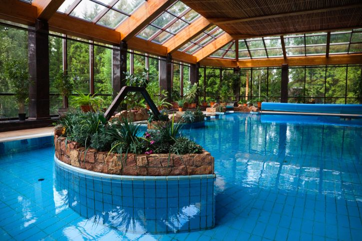 Large Home Indoor Swimming Pool Design With Glass Structure