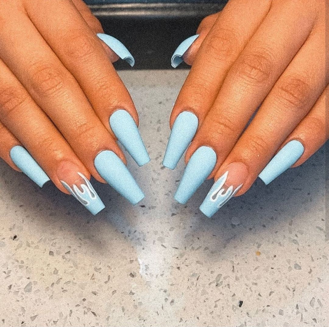 Light Blue Nails In 2020 Long Acrylic Nails Coffin Acrylic Nails Coffin Glitter Acrylic Nails Coffin Short