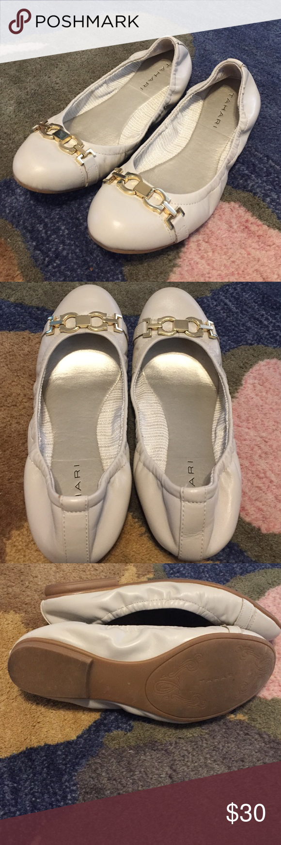 TAHARI 7.5 Leather Ballet Flats Bone Cream Taupe Leather Ballet Flats by TAHARI. Ladies size 7.5. Light Cream Taupe Color (off-white). Hardware on the front is a very pale gold, can almost be confused for silver if you wanted. Only worn one Easter (inside), barely any wear. Looks like new. Tahari Shoes Flats & Loafers