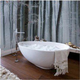 Simple White And Black Trees Pattern Waterproof 3d Bathroom