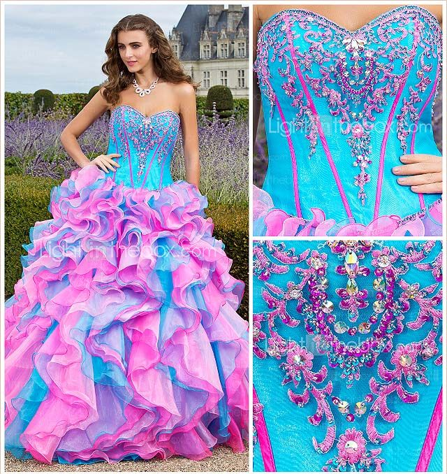 Turquoise Dazzing Bead work on Strapless Sweetheart Bodice