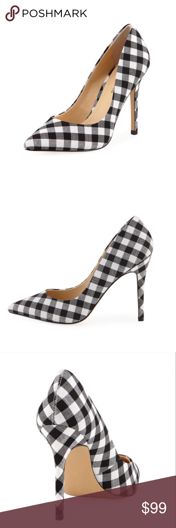 """ef6cc8f6c21 Gingham Pumps 4.2"""" covered stiletto heel. Pointed toe. Slip-on style ..."""