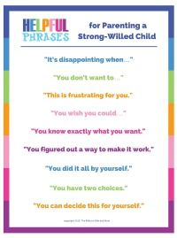 Helpful Phrases Strong Willed Child