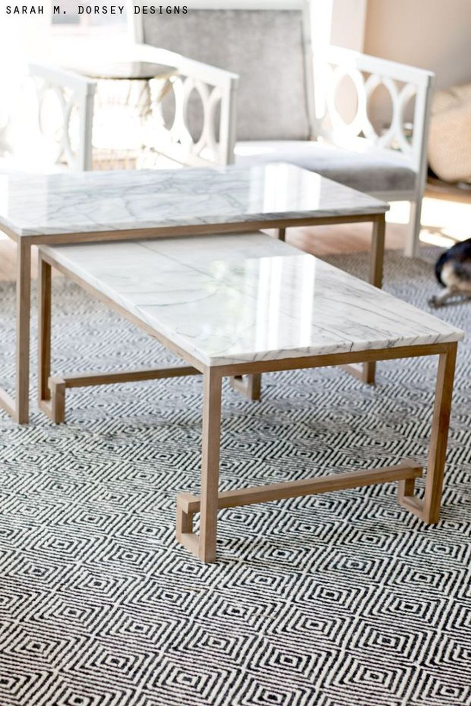 Faux Marble Nesting Coffee Tables
