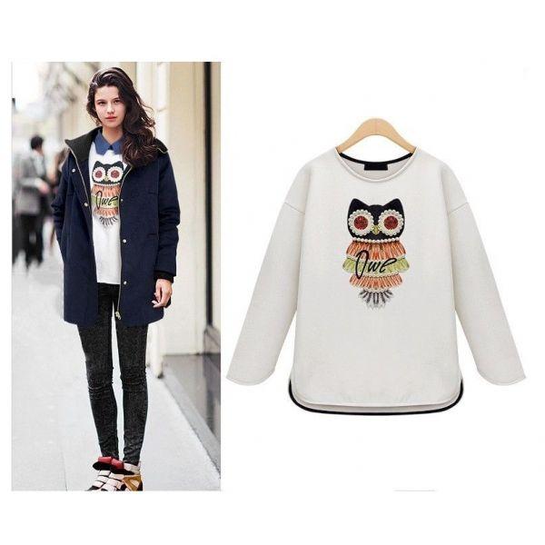 White Womens Crewneck Bead Owl Print Pullover Tops Blouse Hoodies Sweatshirt