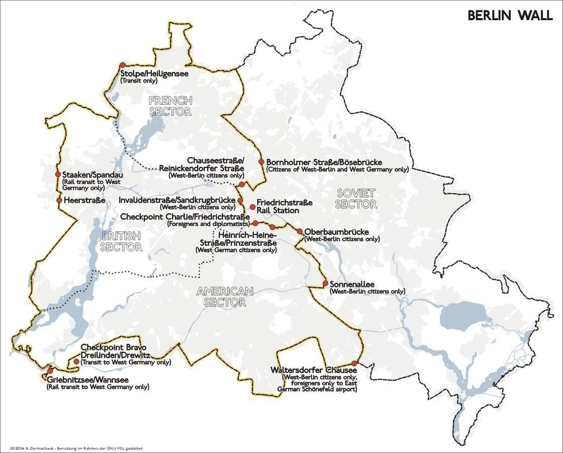 Map Of Berlin Wall Location Berlin Wall Berlin East Berlin
