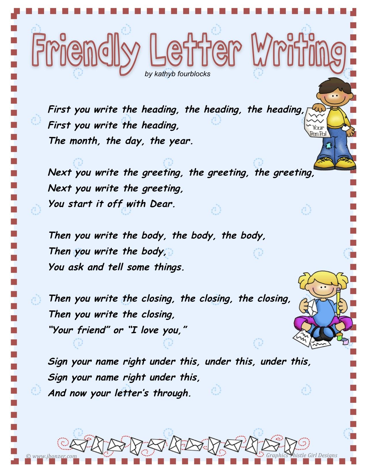Friendly Letter Poem  Language Arts    Friendly Letter