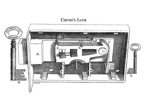 diagram of jeremiah chubb's lock, patented 1818, from oldlocks com