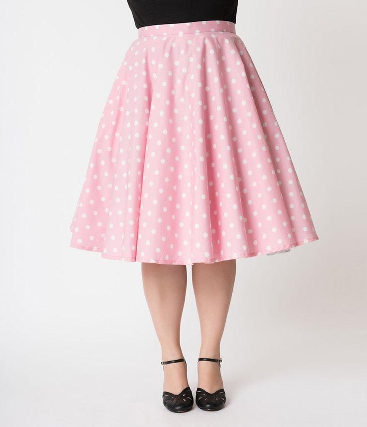 55cf7ec87 Vintage Style Plus Size Pink & White Polka Dot Cotton Circle Skirt ...