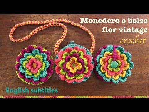 Mini tutorial # 12 monedero Flor vintage a crochet / English