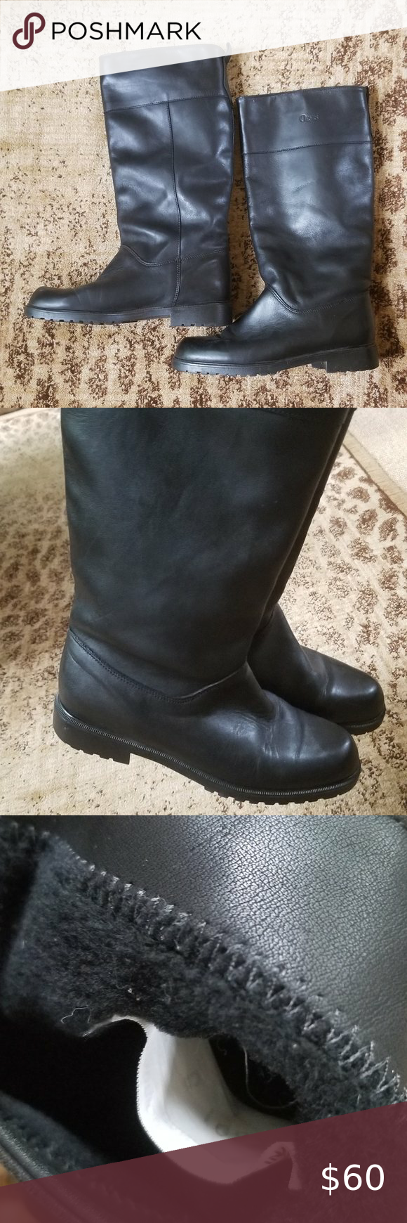 leather tall black boots. Fleece lined