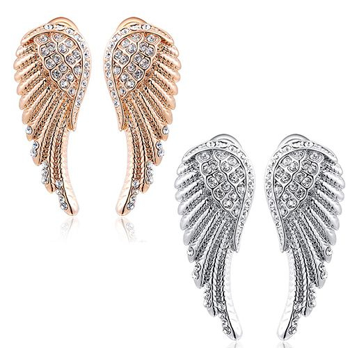 14k Gold Angel Wing Earrings Studs Price 9 97 Free Shipping