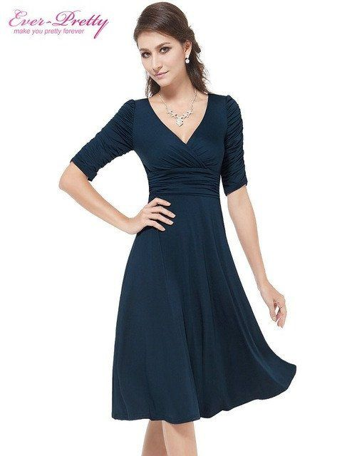 Short Dresses Women 3 4 Sleeves Hot Sall V Neck High Stretch Plus Size –  Enso Store b6ac1f790e