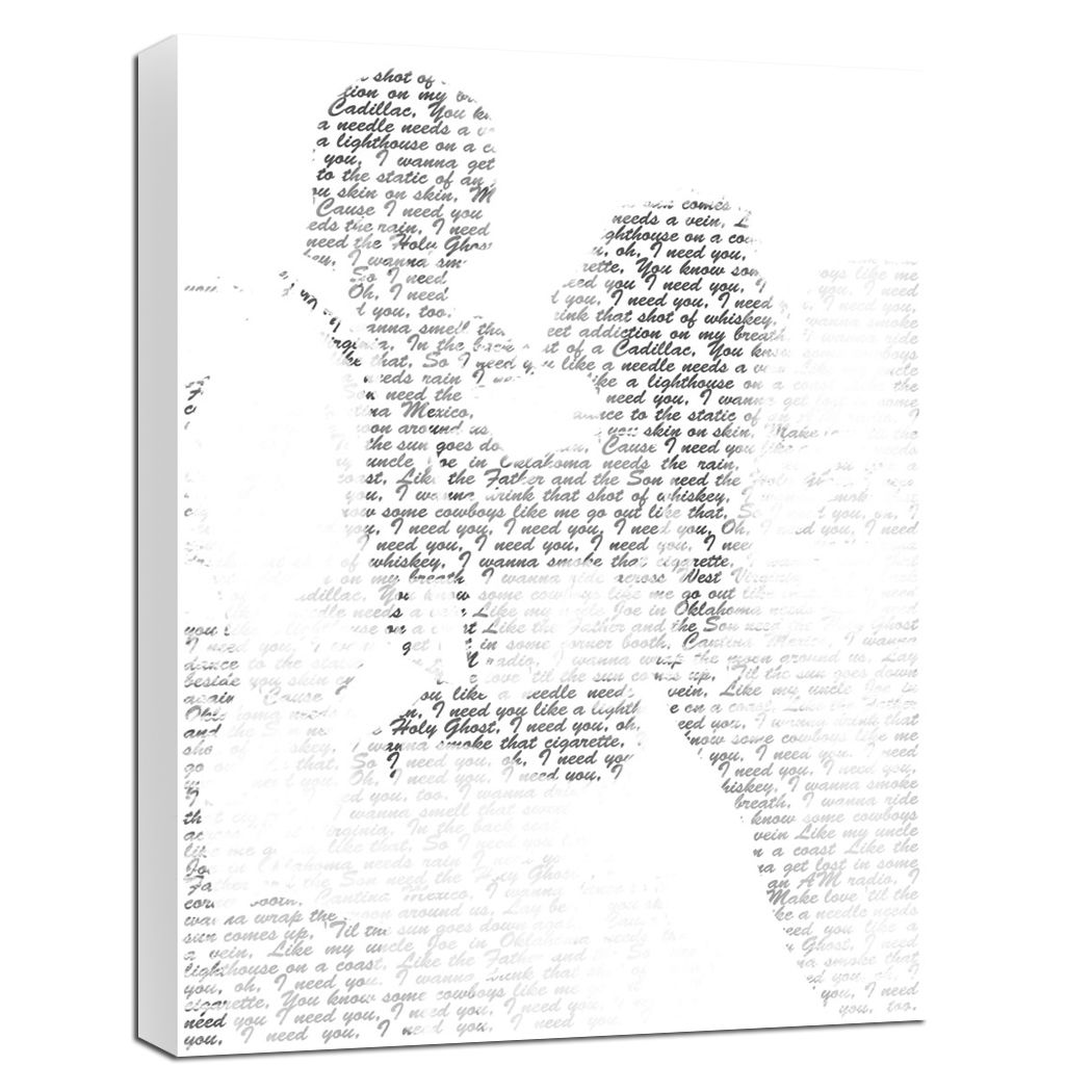 Your Silhouette Photo And Your Words Printed On Canvas Anniversary