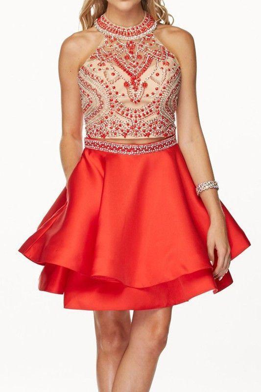 Full beaded Bodice short prom dress Prom dress