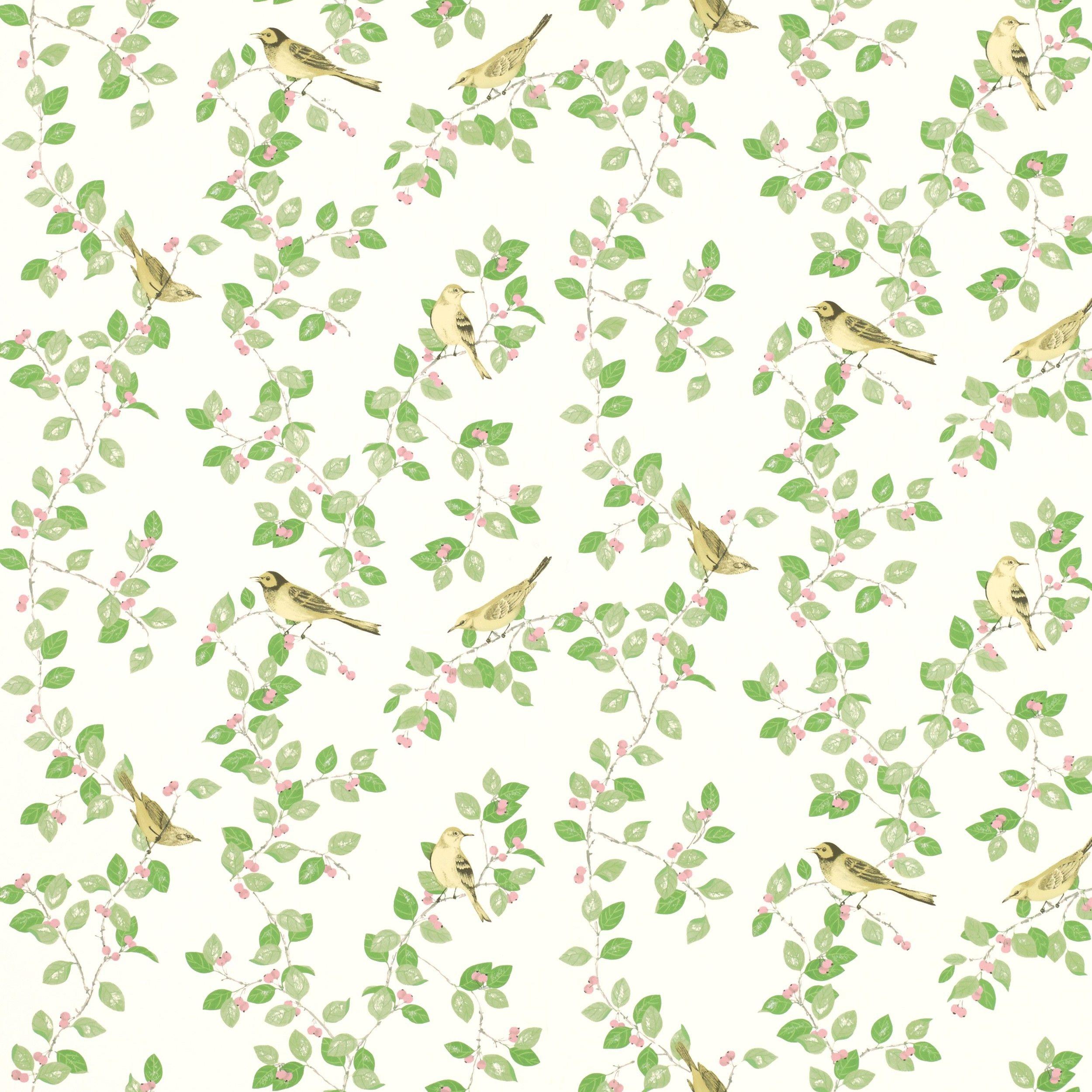 Aviary Garden Apple Green Wallpaper at Laura Ashley