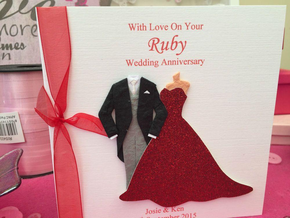Handmade personalised wedding anniversary card ruby wedding th