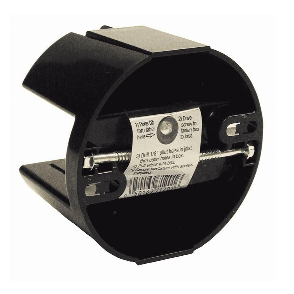 Raco 4 In Round Non Metallic Ceiling Box 2 39 64 In Deep 24 Pack 7120 1 Black Ceiling Fan Home Depot Conduit Box