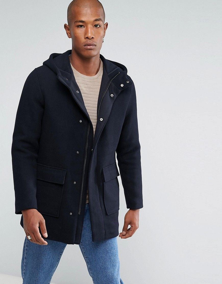 4008107629d Selected Homme Mix Wool Parka With Padded Lining - Navy | coat ...