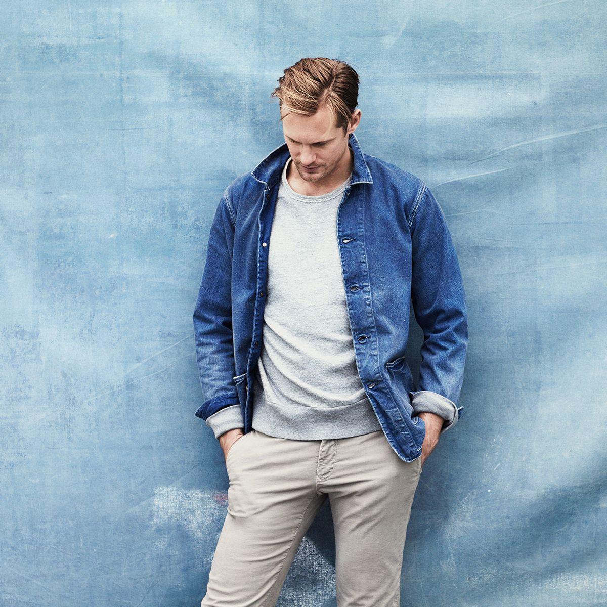 Mr Alexander Skarsgård for MR PORTER wearing Chimala Jacket, Rag & Bone Sweatshirt and Incotex Chinos.