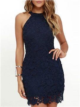 Charming Halter Short Lace Dress