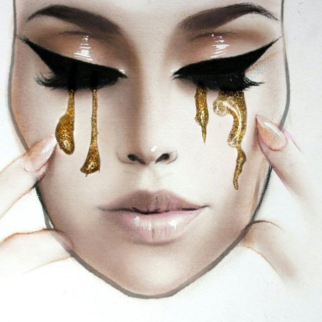 With a few flicks of the wrist, cosmetics and some make up brushes Ukrainian artist, Liza Kondrevich