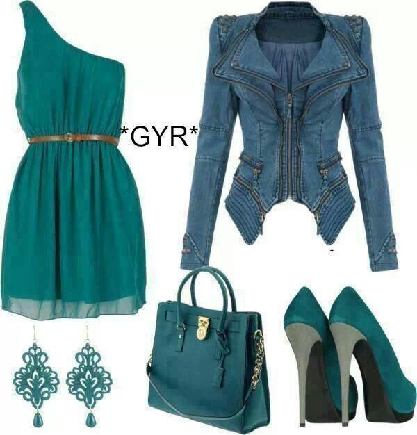 Vestido verde un hombro