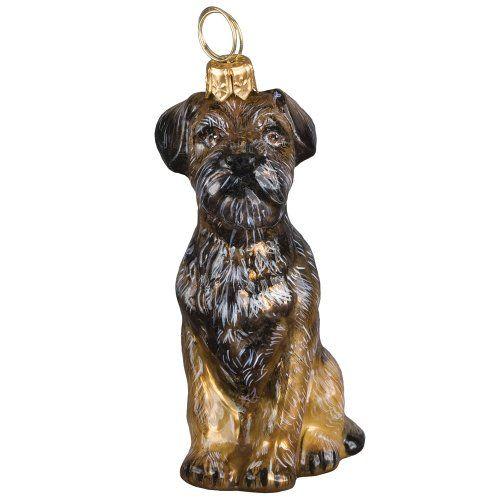 Blown Glass Sitting Border Terrier Christmas Ornament Christmas