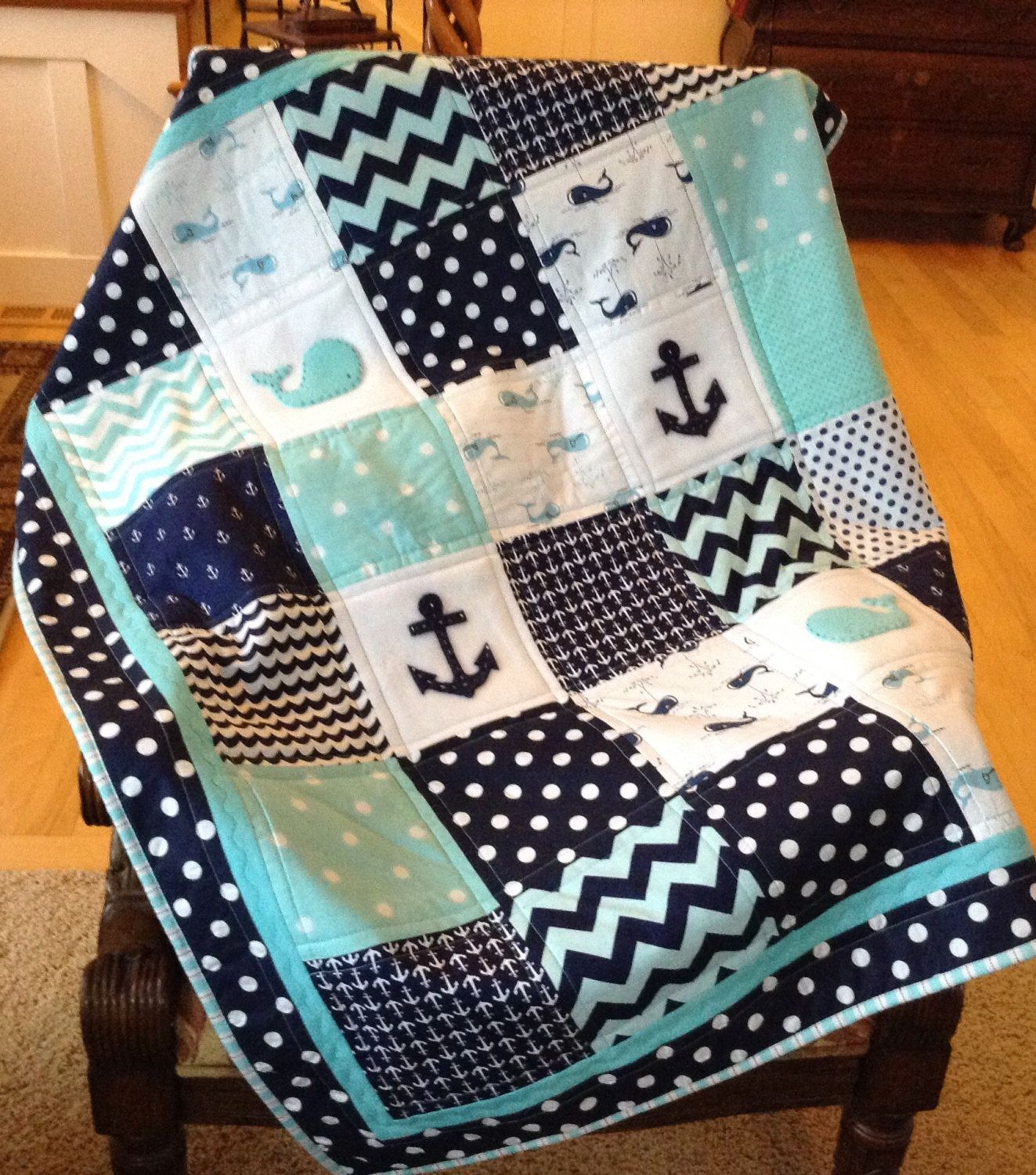 Nautical anchor baby whale quilt in teal navy and white - Baby jungenzimmer ...