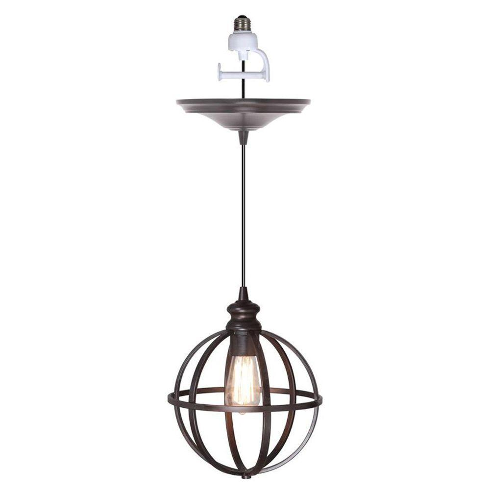Worth home products 1 light brushed bronze instant pendant light worth home products 1 light brushed bronze instant pendant light conversion kit and globe cage aloadofball Images