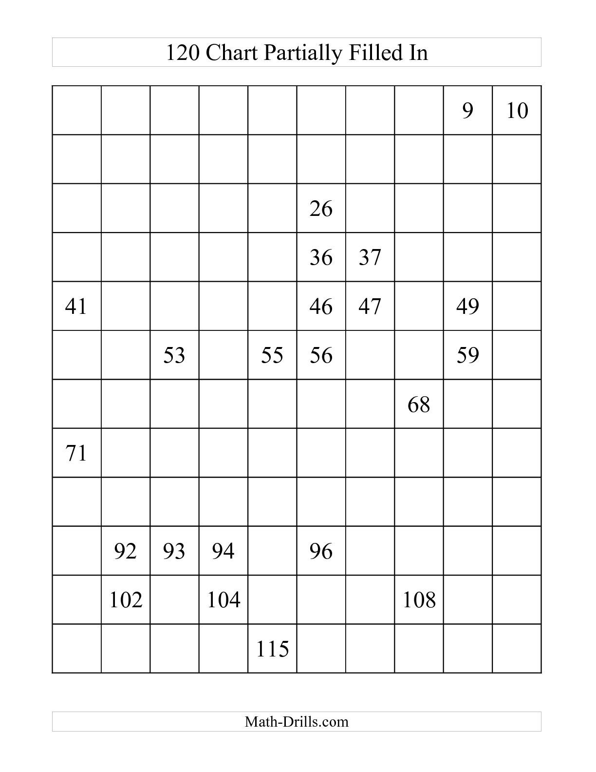 120 Chart Partially Filled A Number Sense Worksheet