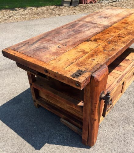 Miraculous C 1890 Primitive Antique Workbench 2 Vice With Hidden Caraccident5 Cool Chair Designs And Ideas Caraccident5Info