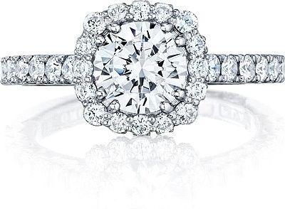 Tacori Blooming Cushion Halo Diamond Engagement Ring 372CU