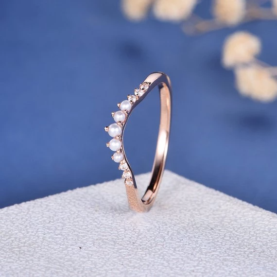18K Curved Custom Pearl Diamond Band Gold Wedding Band