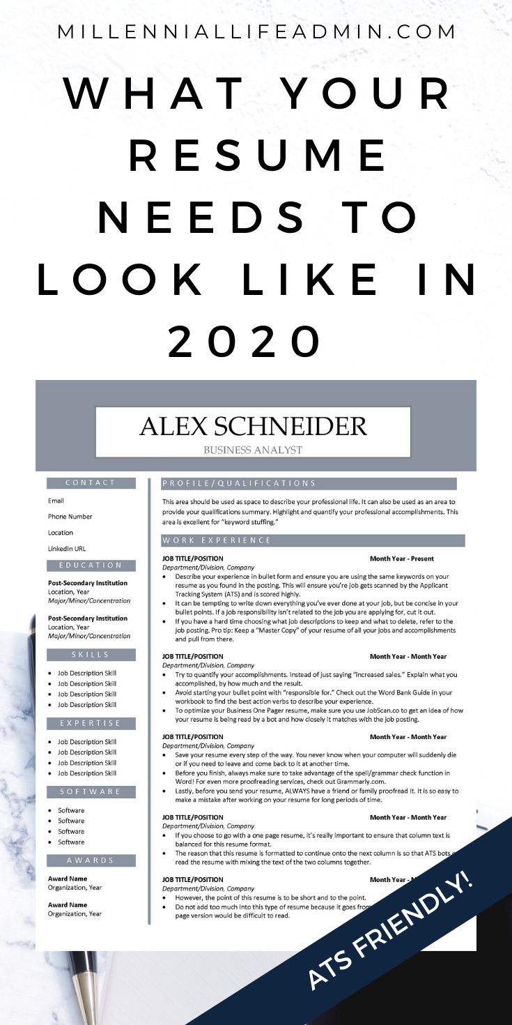 Ats Friendly Resume Template 2020 Two Column Resume Tips Business Analyst Resume Resume Examples