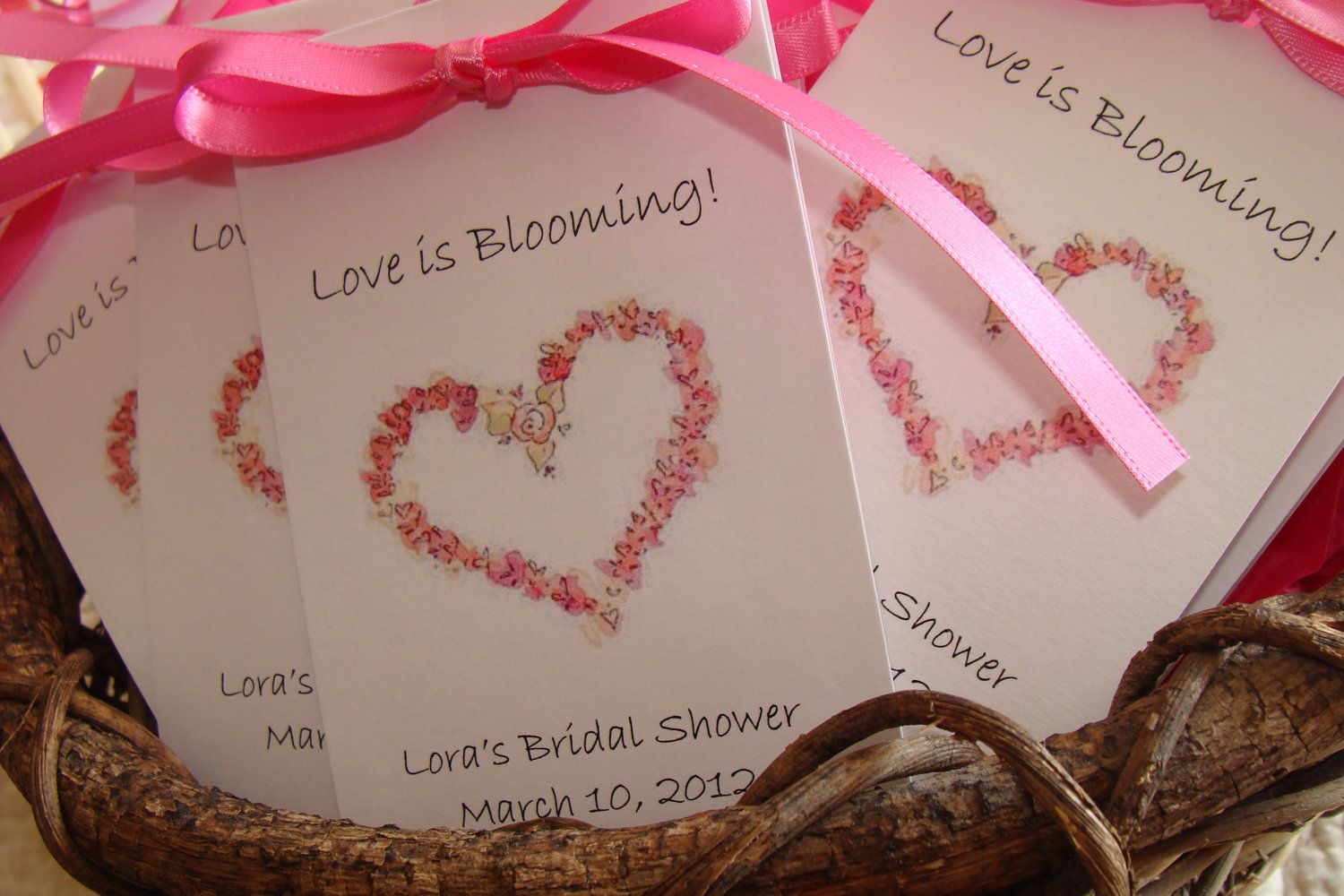 Personalized Floral Country Rose Heart Bridal Shower Wedding ...