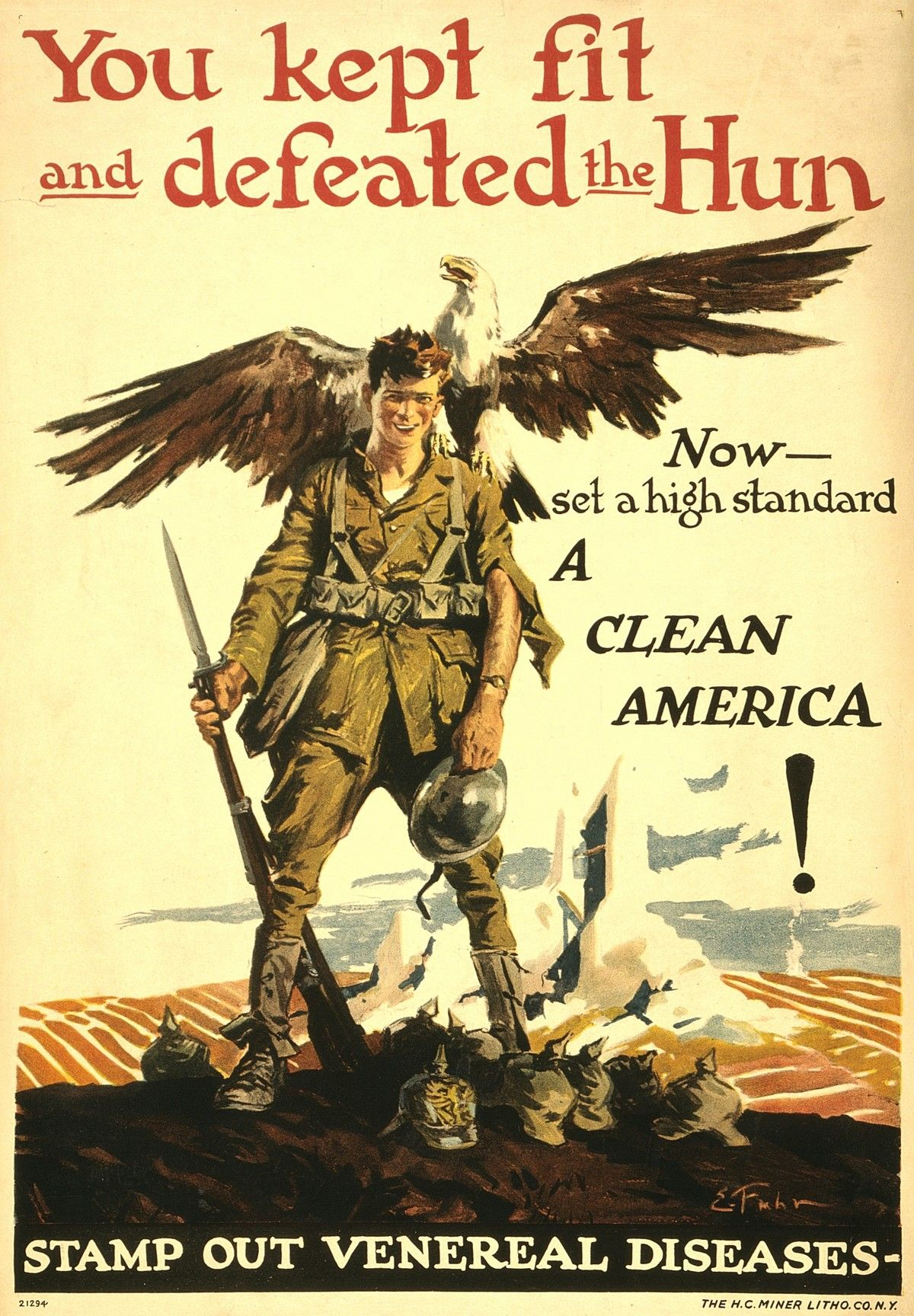 WWI Poster You Kept Fit And Defeated The Hun Now Set A
