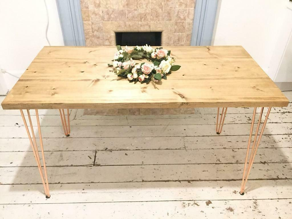 Artemis Copper Hairpin Leg Dining Table With Swedish Redwood Top Handmade In London Free Delivery I Hairpin Leg Dining Table Dining Table Dining Table Chairs